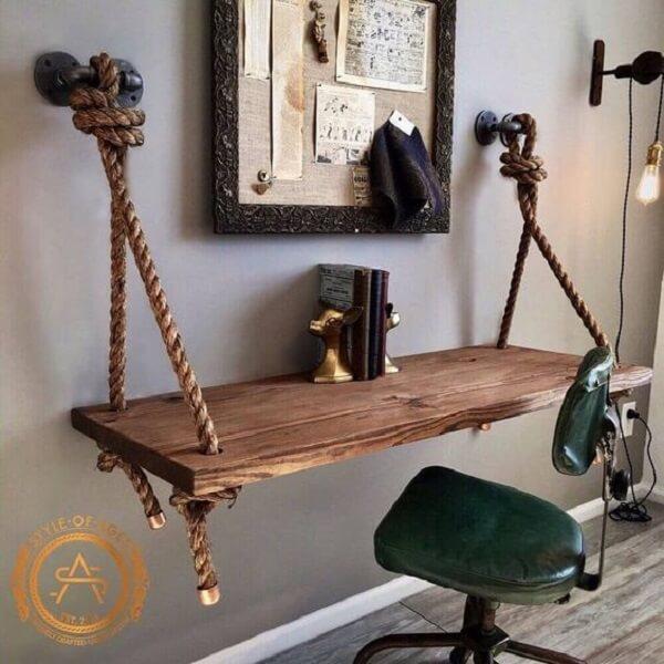 Modelo de escrivaninha madeira de demolição feita com cordas