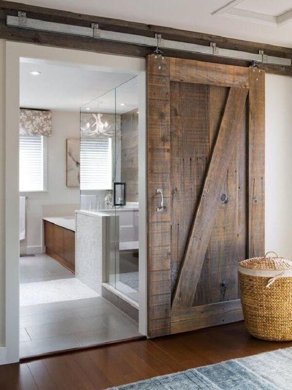 Modelo de porta de correr de madeira para quarto para decoração rústica