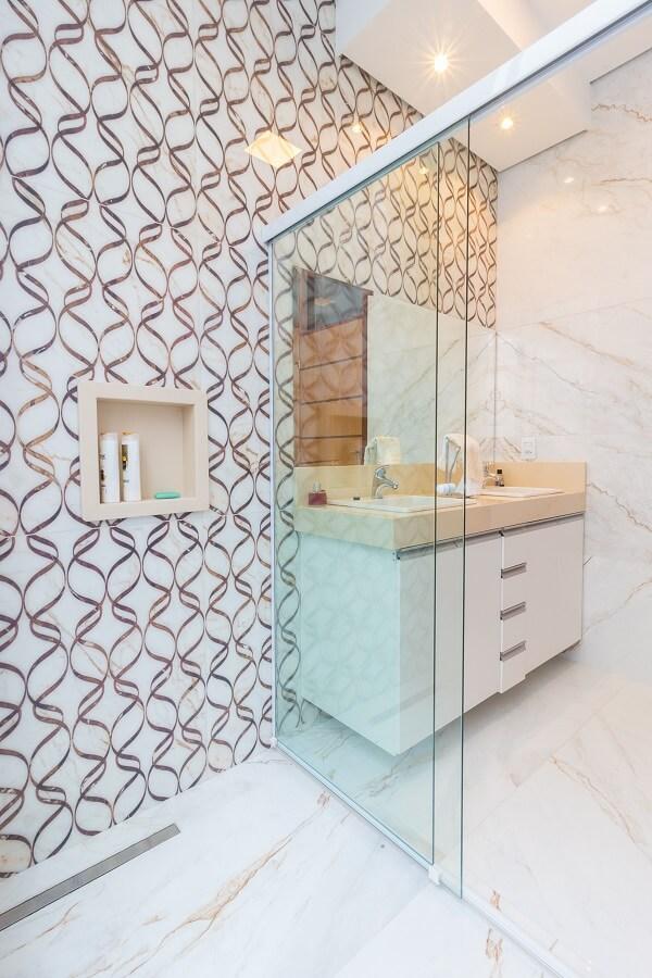 Modelo de revestimento de parede de banheiro com design sofisticado