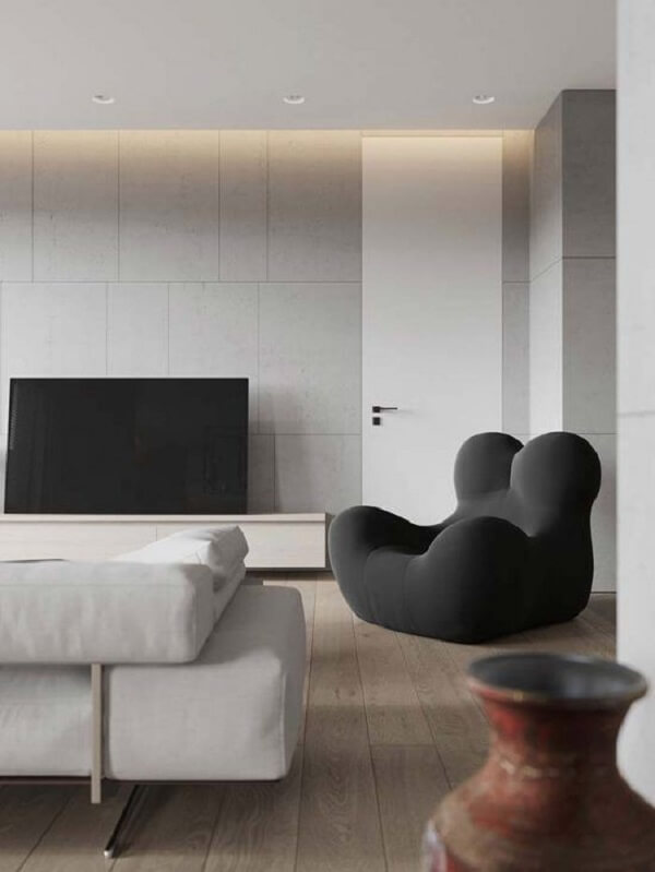 Modelo de revestimento de parede porcelanato clean decora a sala