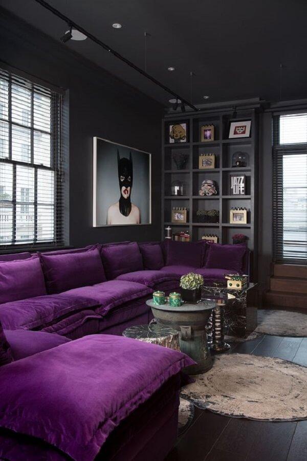 Modelo de sofá de canto roxo super aconchegante
