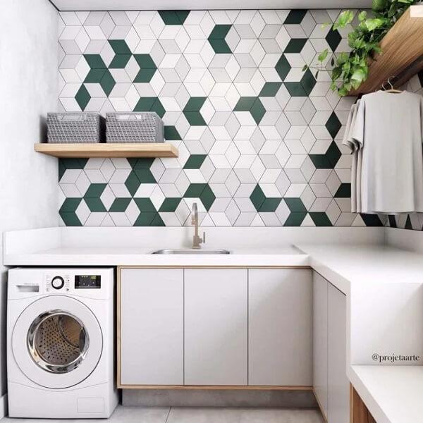 O revestimento geométrico para lavanderia decora de forma graciosa o espaço