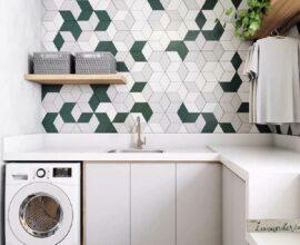 O revestimento para lavanderia geométrico decora de forma graciosa o espaço