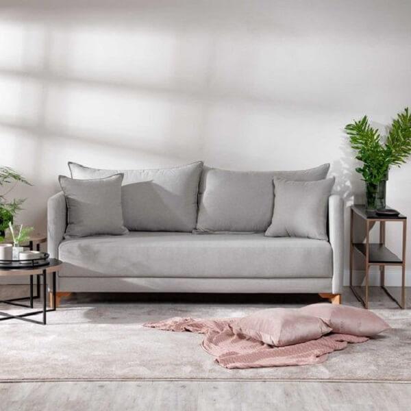 Sofá simples 2 lugares cinza claro