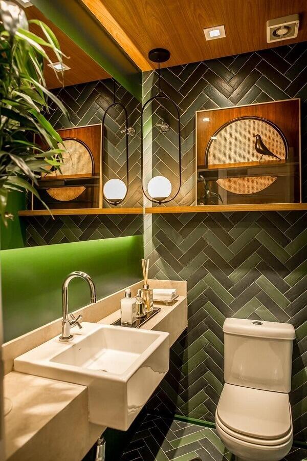 Revestimento para lavabo cinza e verde