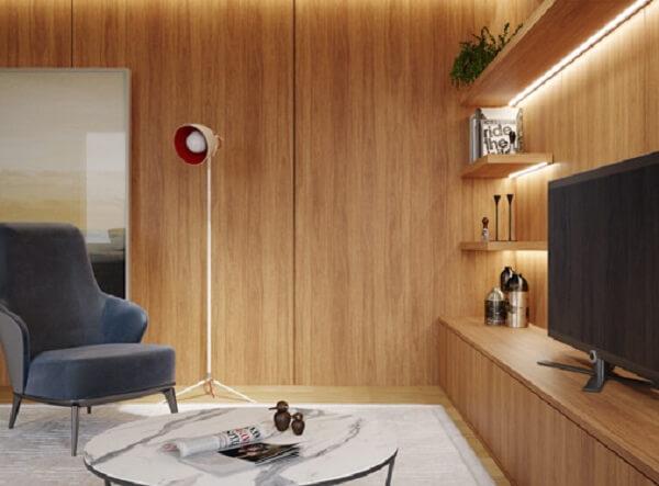 Revestimento de parede em madeira para sala de esta