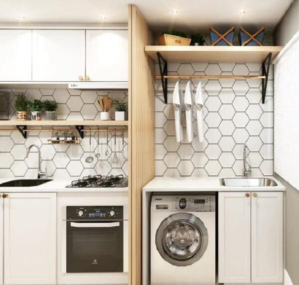 Revestimento hexagonal branco para lavanderia
