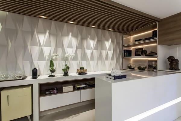 Revestimento para parede de cozinha 3D branc