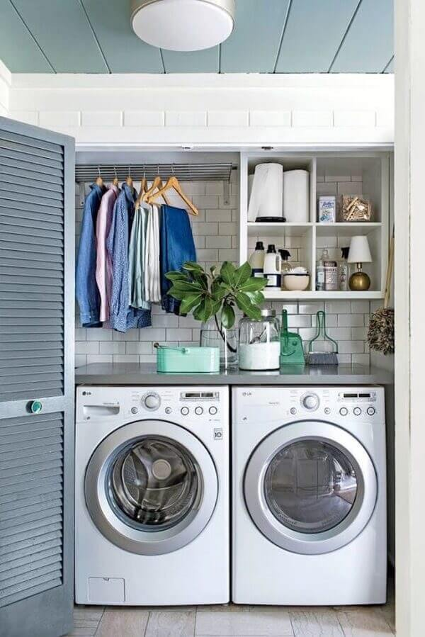 Revestimento para parede de lavanderia do tipo Metro White