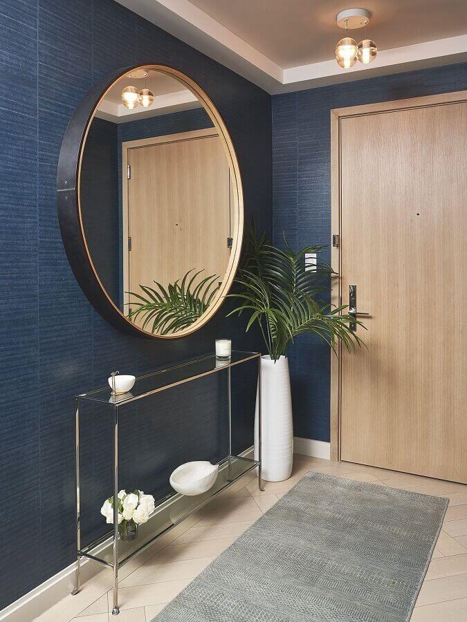 aparador para hall de entrada pequeno decorado com espelho redondo Foto Pinterest