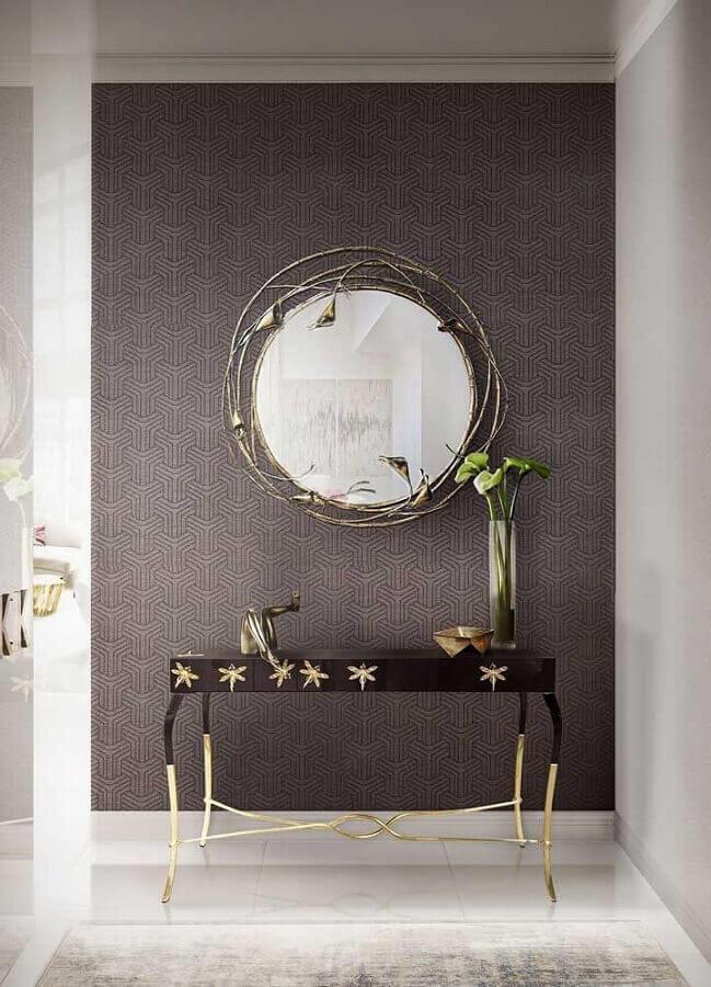 aparador pequeno para corredor sofisticado decorado com espelho redondo diferente  Foto Behance
