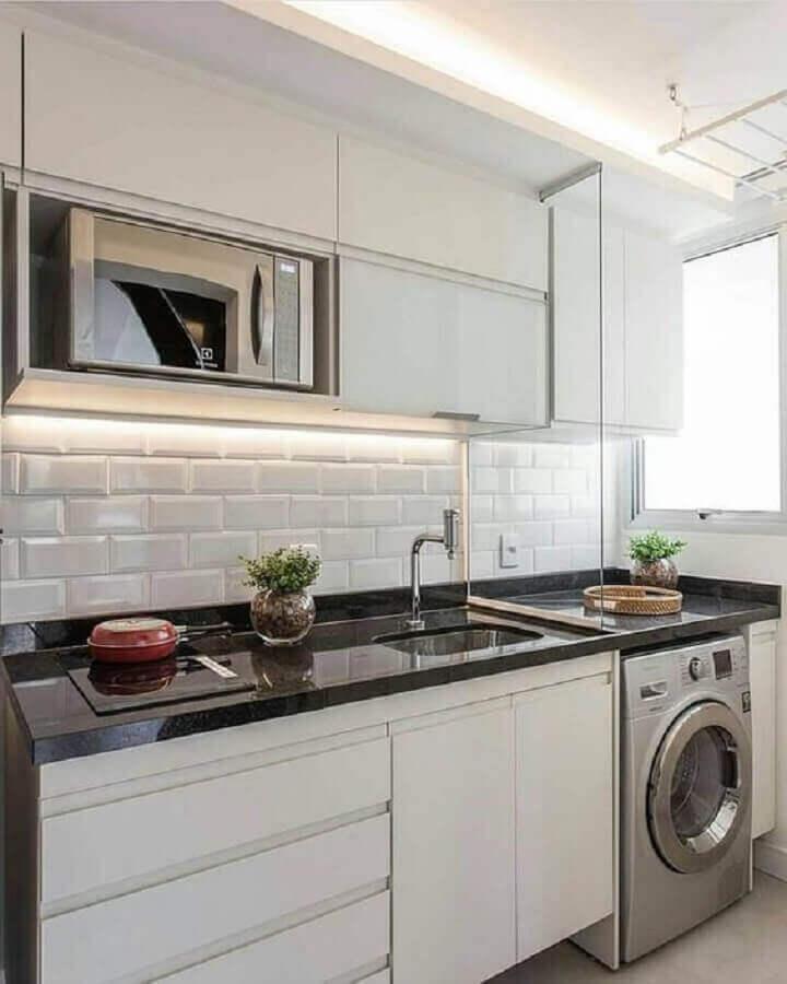 azulejo metro white para decoração de lavanderia planejada Foto Jeito de Casa