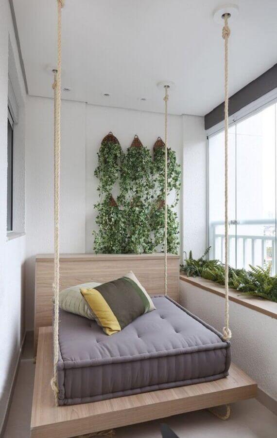 balanço suspenso para decoração de varanda pequena Foto Histórias de Casa