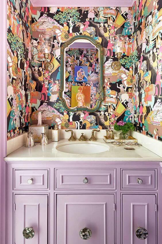 Banheiro lavanda cor lavanda