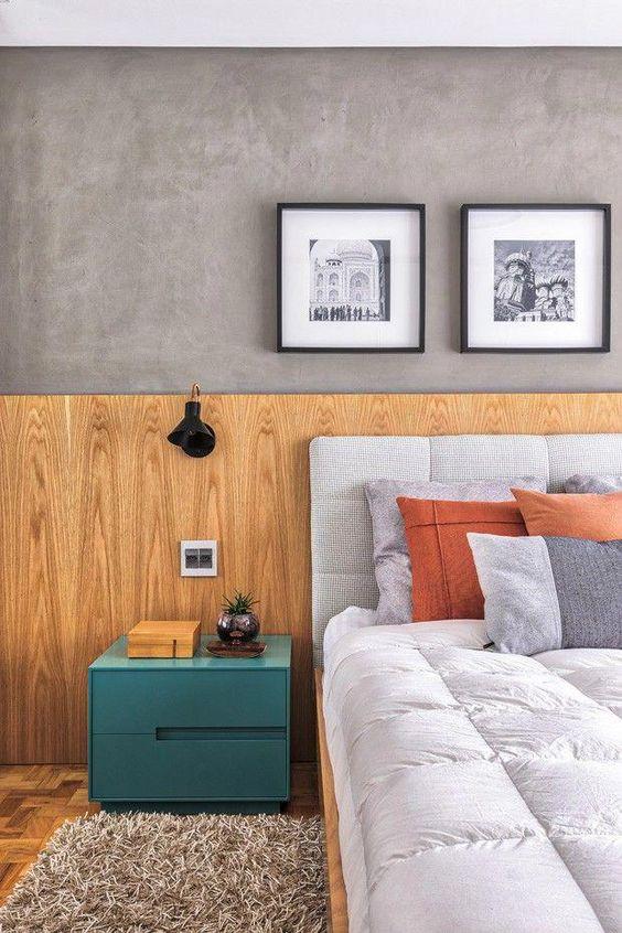 Cabeceira de cama de madeira