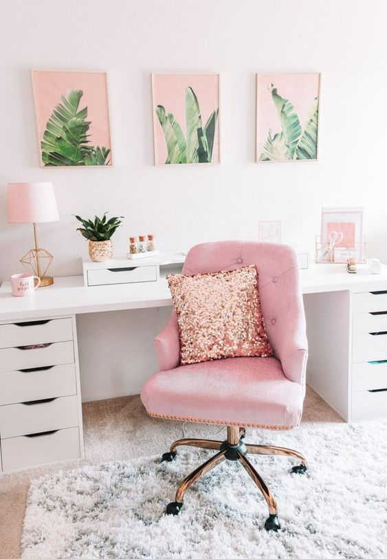 Cadeira para penteadeira rosa com almofada de glitter