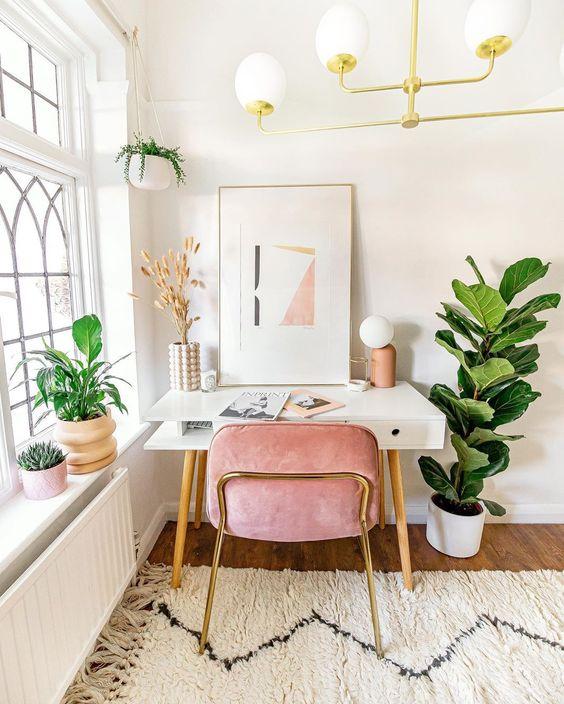 Cadeira para penteadeira rosa e branca