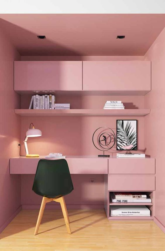 Cadeira para penteadeira rosa e preto
