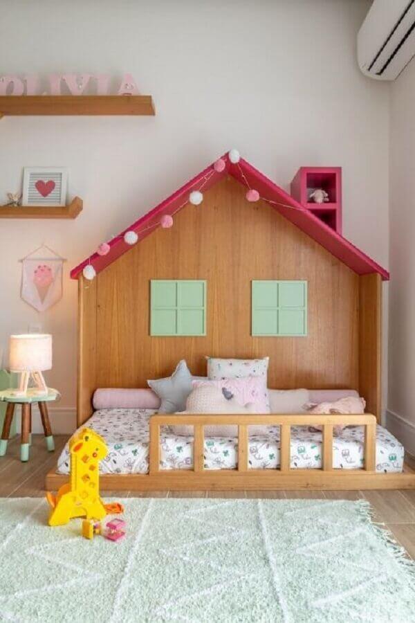 cama casinha para decoração de quarto para criança menina Foto NaToca Design