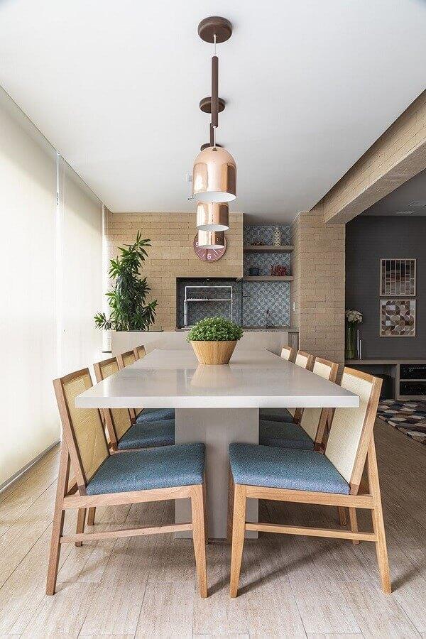 churrasqueira para varanda de apartamento gourmet decorado com parede de tijolinho Foto Marina Carvalho