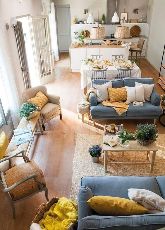 Conjunto de sofás simples na cor azul