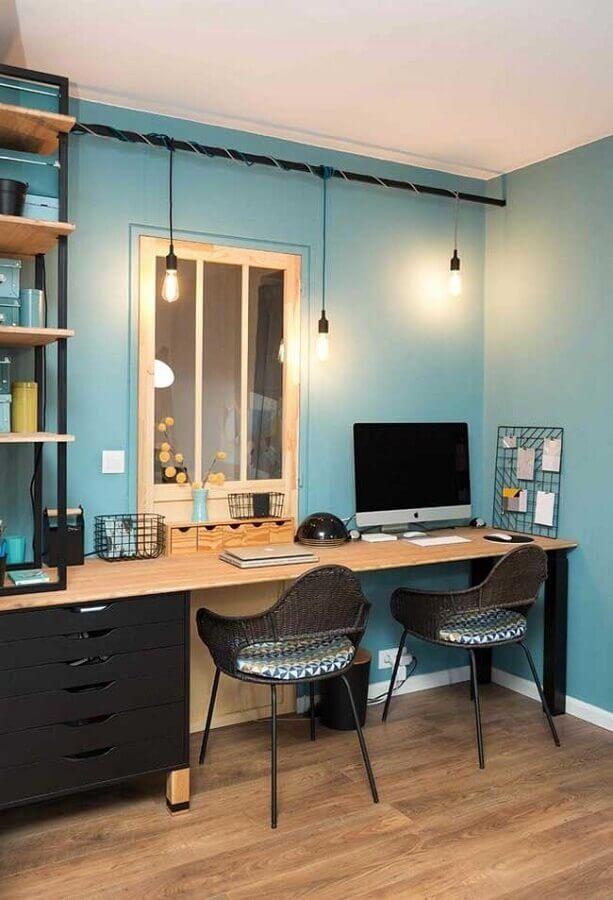 cor azul turquesa para parede de home office simples  Foto Houzz