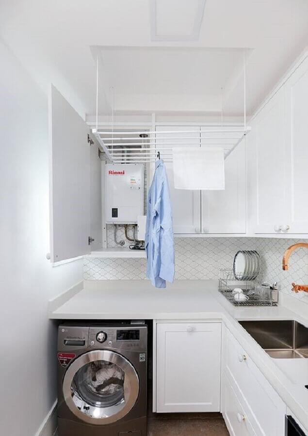 cor branca para decoração com armário para lavanderia pequena planejada Foto Pinterest