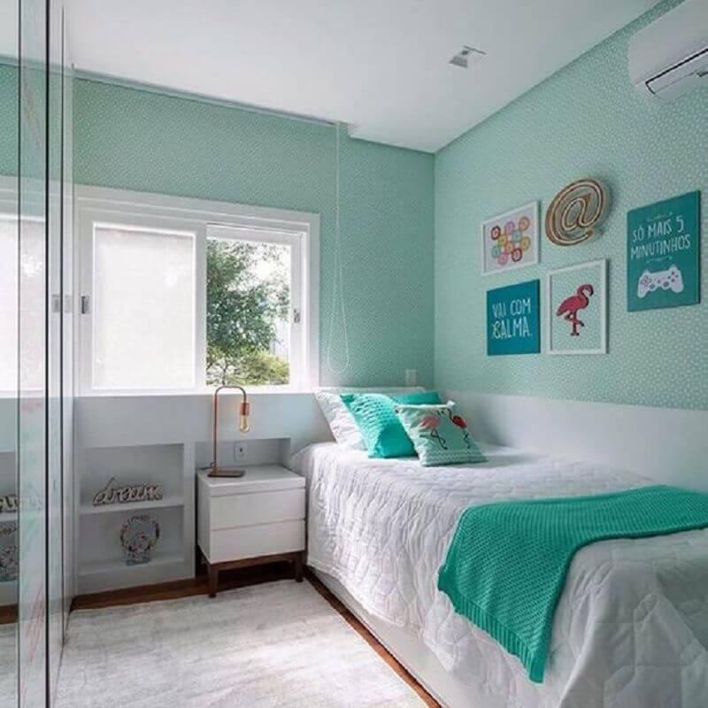 cor de quarto de adolescente feminino verde água e branco  Foto Pinterest