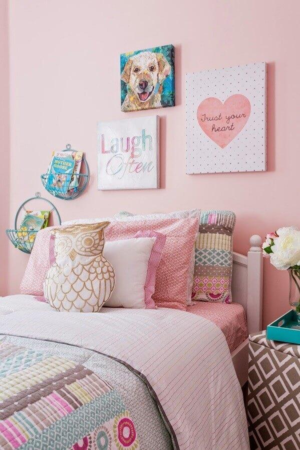 cor de rosa para decoração de quarto de adolescente feminino Foto Pinterest