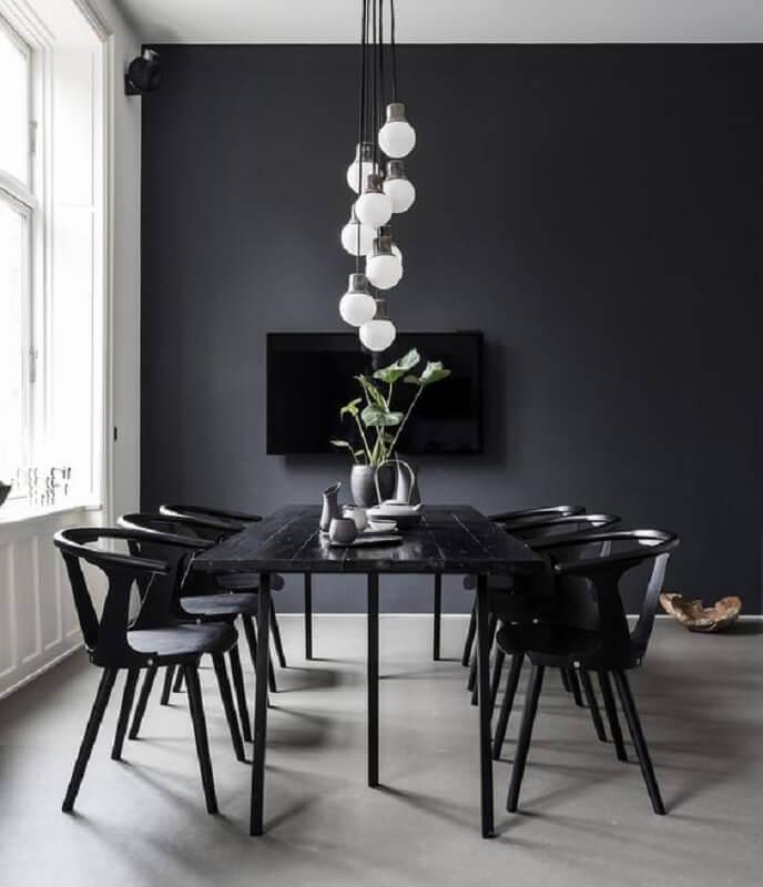 cor preta para decoração sala de jantar minimalista Foto Pinterest