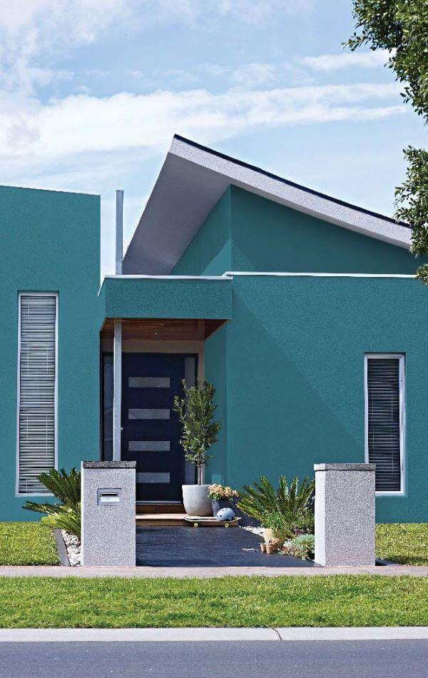 Cores para área externa com fachada turquesa