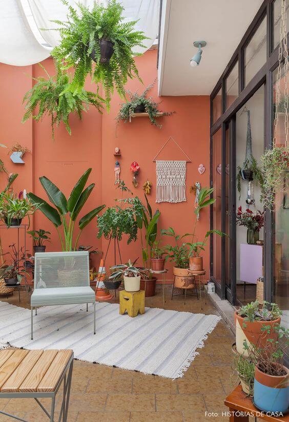 Cores para área externa com jardim