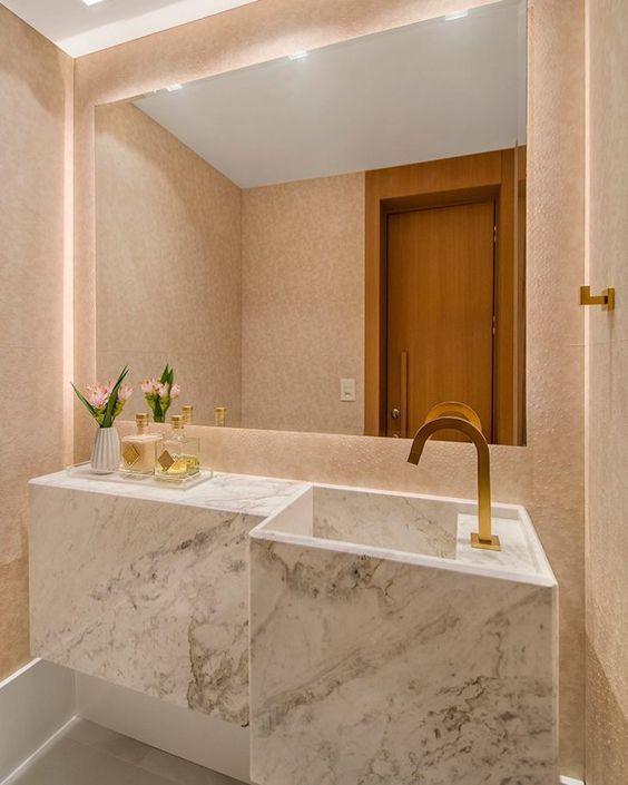 Cuba moderna em mármore para banheiro de luxo