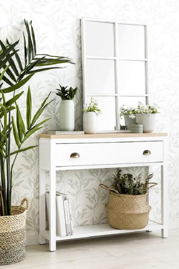 decoração clean com aparador branco pequeno com gaveta Foto Kenay Home
