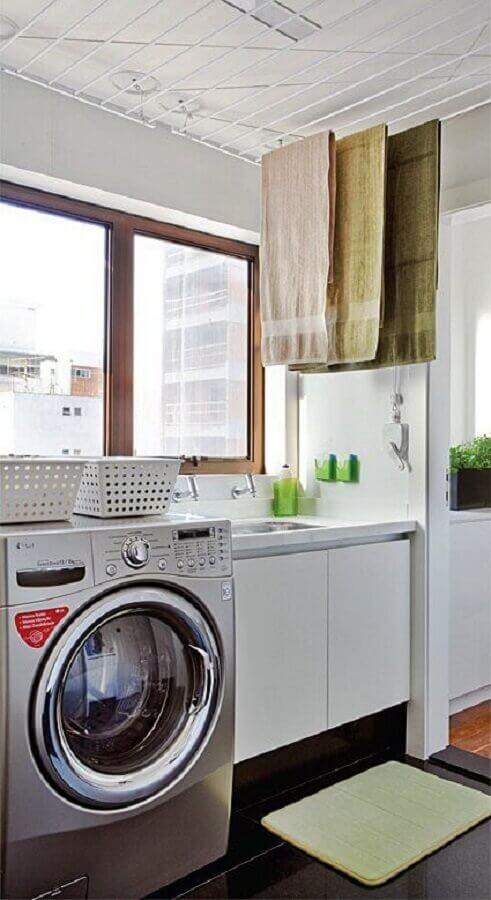 decoração clean com armário para lavanderia pequena Foto Simples Decoração