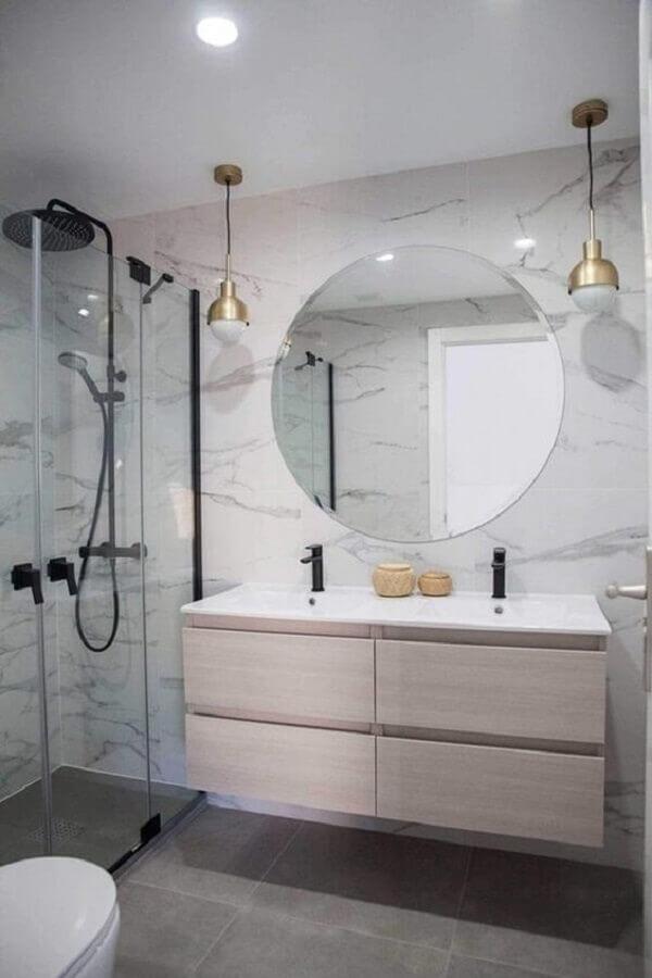 decoração clean com luminária pendente para banheiro Foto EstiloyDeco