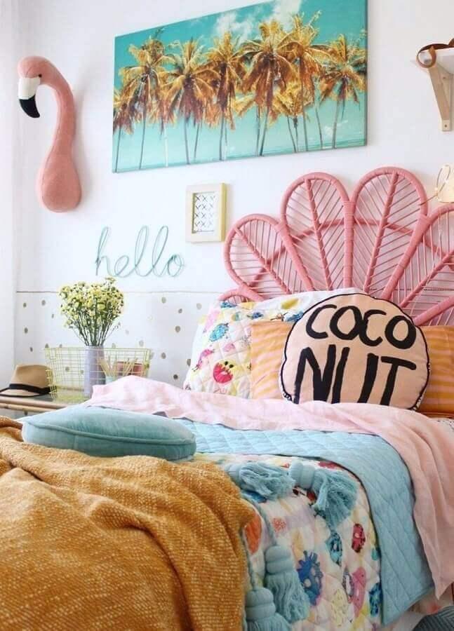 decoração colorida para quarto de adolescente feminino com cabeceira rosa Foto Original Home