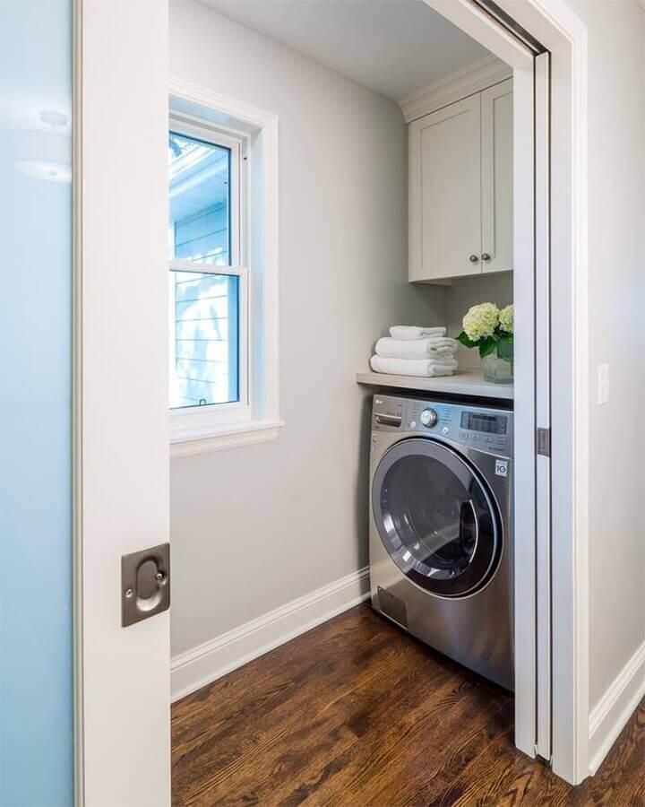 decoração com armário aéreo para lavanderia pequena Foto Home Fashion Trend
