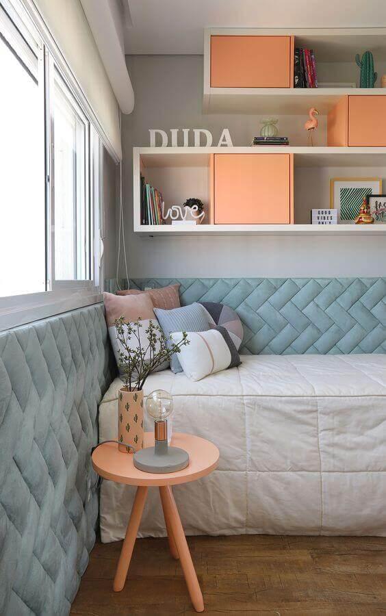 decoração com cor de quarto de adolescente feminino azul e coral  Foto Casa de Valentina