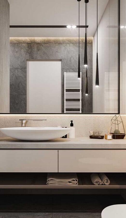decoração com pendente para banheiro moderno  Foto Home Fashion Trend