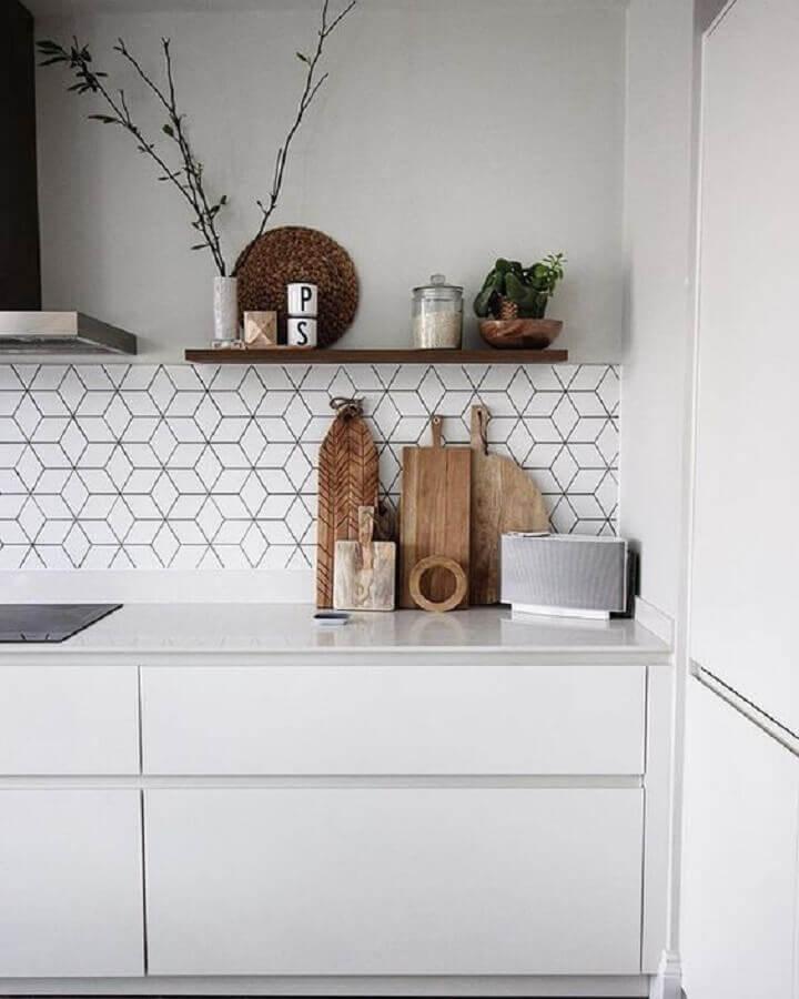 decoração com revestimento branco para cozinha planejada Foto Home Fashion Trend