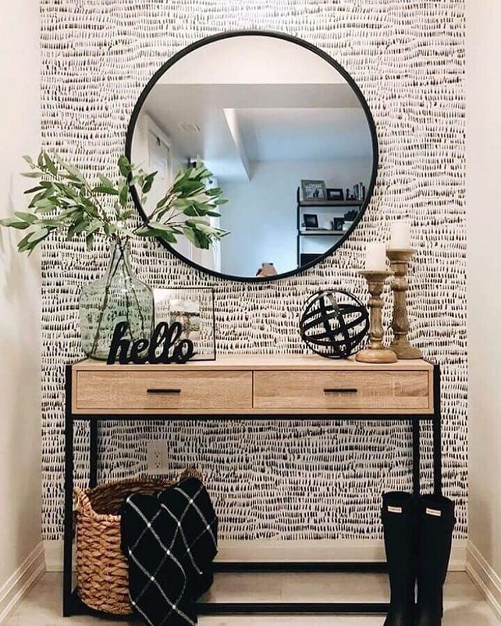 decoração de corredor com aparador pequeno com gaveta com design minimalista  Foto west elm
