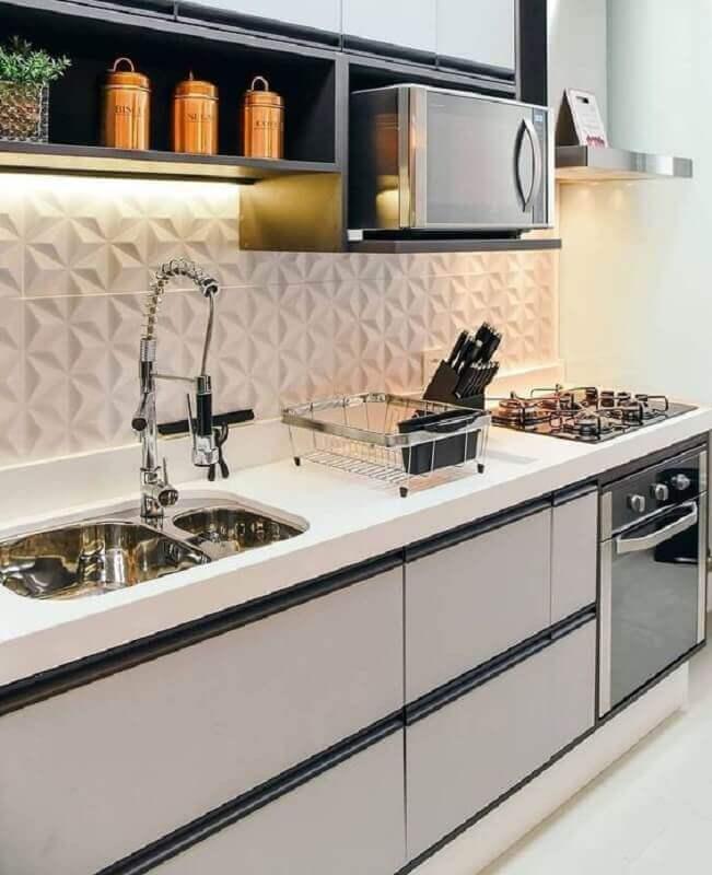 decoração de cozinha pequena com revestimento 3d branco Foto Pinterest