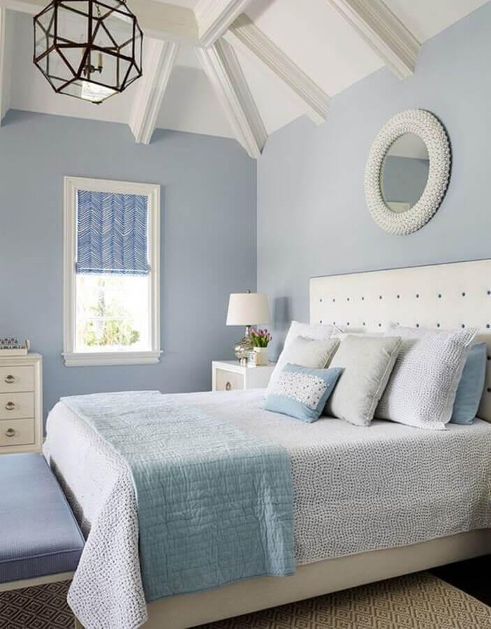 decoração de quarto de casal na cor azul bebê e branco Foto Pinterest