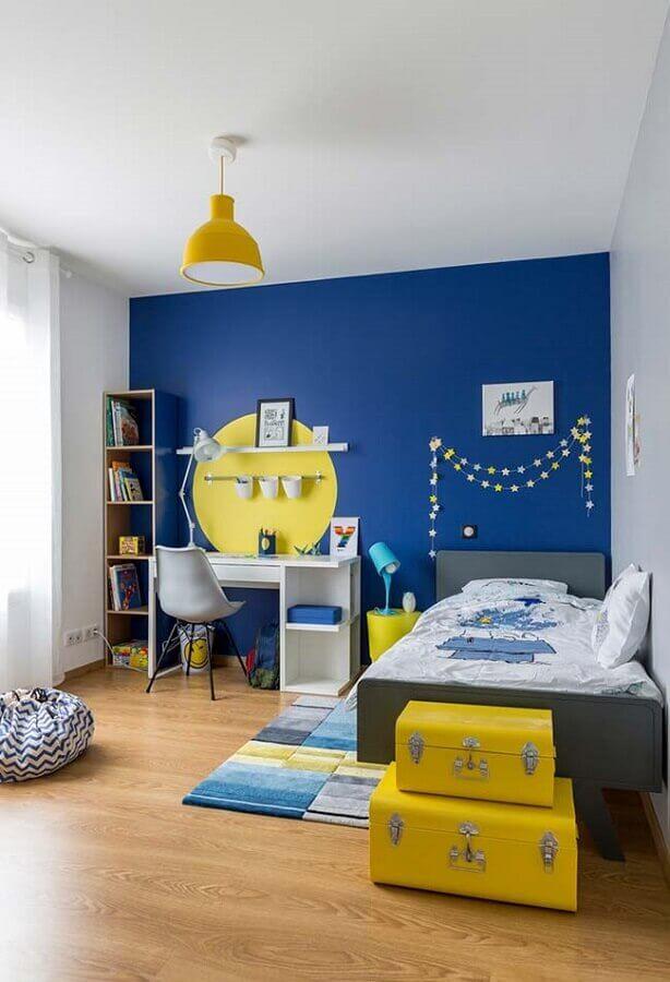 decoração de quarto para criança azul e amarelo Foto Pinterest