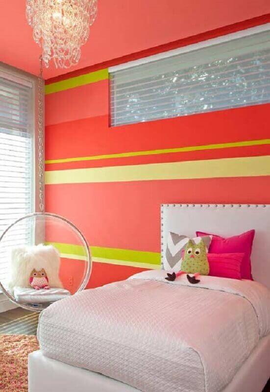 decoração de quarto para criança com parede laranja e amarela Foto Pinterest