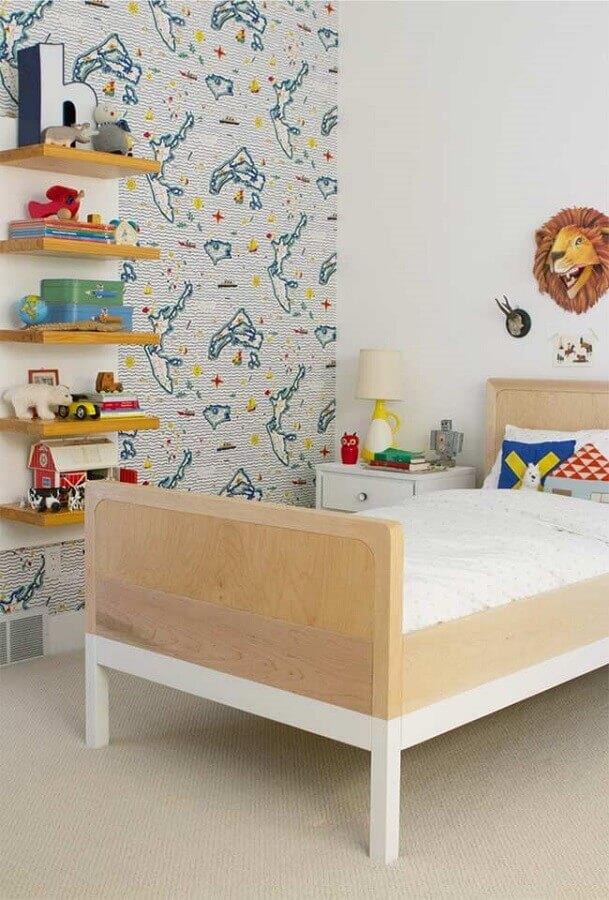 decoração de quarto para criança simples com papel de parede diferente Foto Pinterest