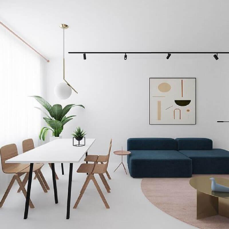 decoração de sala de estar minimalista integrada com sala de jantar Foto Edge Themes