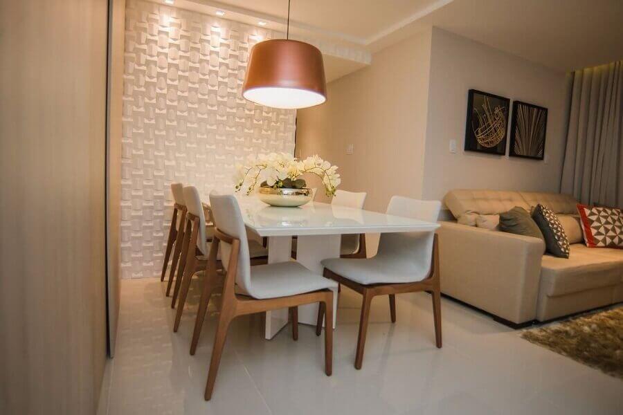 decoração de sala de jantar com revestimento 3d branco Foto Andrea Fonseca