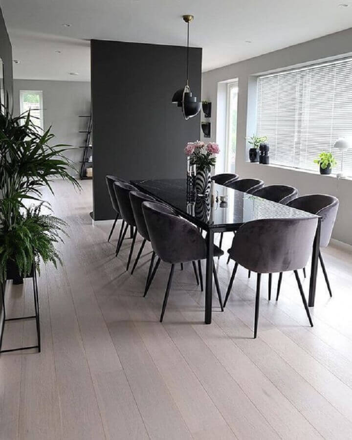 decoração de sala de jantar minimalista preta Foto We Heart It